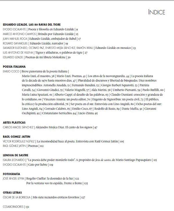 Indice Revista La Otra 1