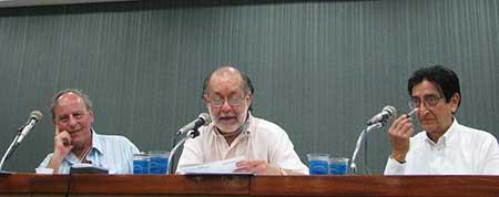 Claudio Willler, Jotamario Arbeláez, Sergio Mondragón en La Bienal del Libro en Fortaleza, Brasil. Foto: JAL